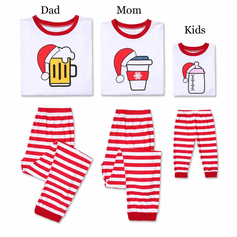 2Pcs Family Christmas Pajamas Kids&Adult Long Sleeve T-shirt+Striped Pants Family Matching Clothes Christmas Pjs Sleepwear E0283