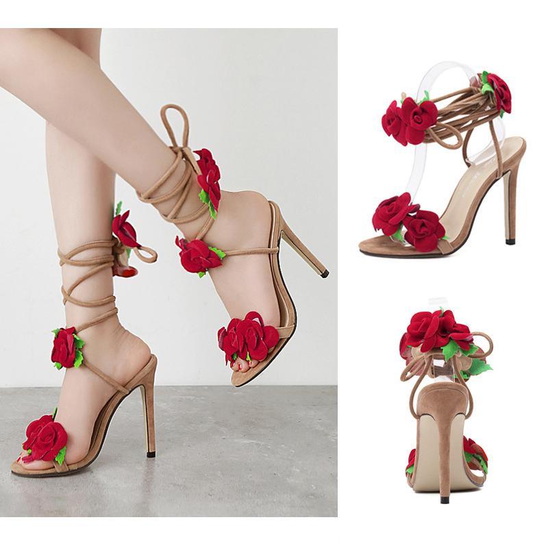 0a3e0ea7d3 Acquista Scarpe Rosa Stilisti Tacco Sandali Con Fiore Croce A wN8mn0