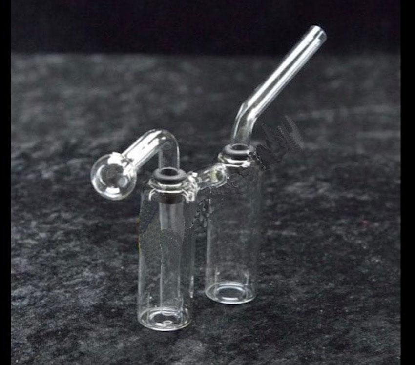 Mini Glass Oil Burner Bong Double Bottle Percolator Water Beaker Bong Smoking Oil Rigs Portable Hand Dab Rig with Downstem Oil Nail Pipe