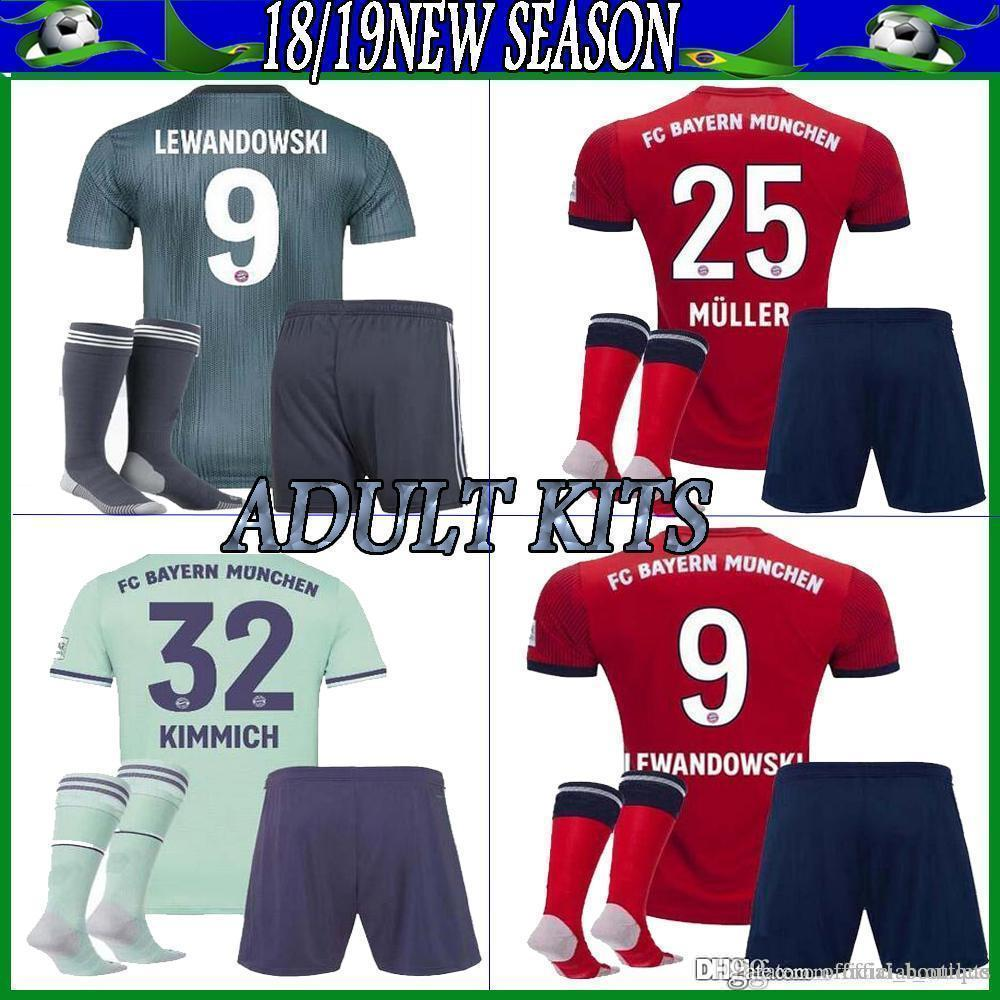 official photos 9a96a f480f Adult kits 2018 2019 Bayern Munich jersey 18 19 MULLER VIDAL LEWANDOWSKI  ROBBEN TOLISSO home soccer jerseyS JAMES youth Football shirt