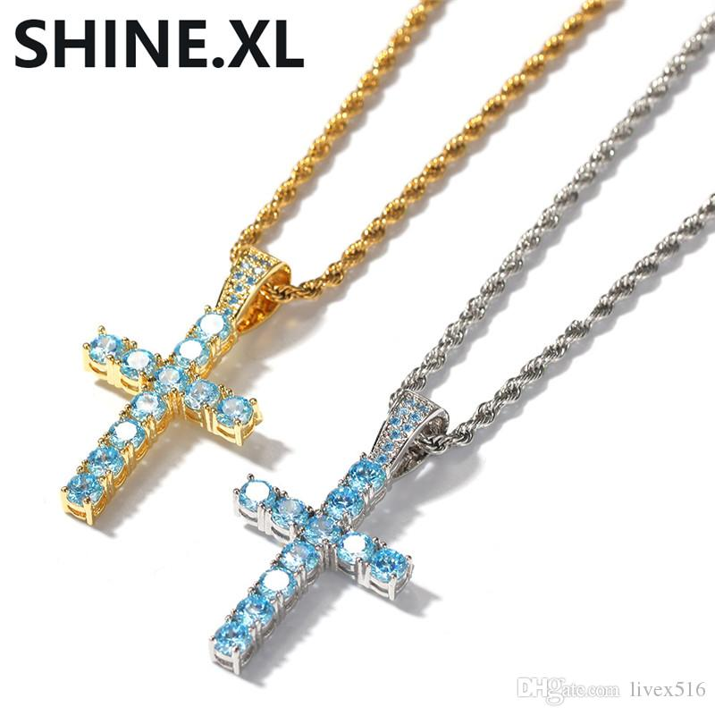 Hip Hop Jewelry Iced Out Blue CZ Cross Pendant Necklace with Rope Chain Mens Women Bling Party Gift