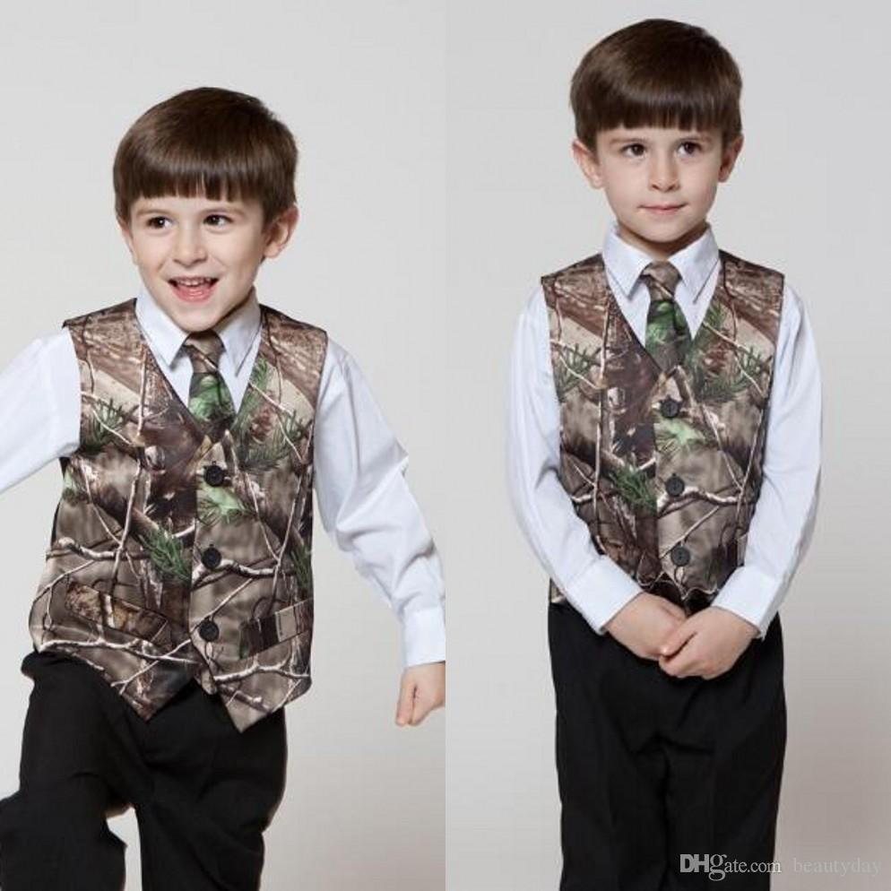 Grooms Wear White Camo Groom Vests Custom Made Kids Adult Wedding Party Camo Prom Vest Real Image