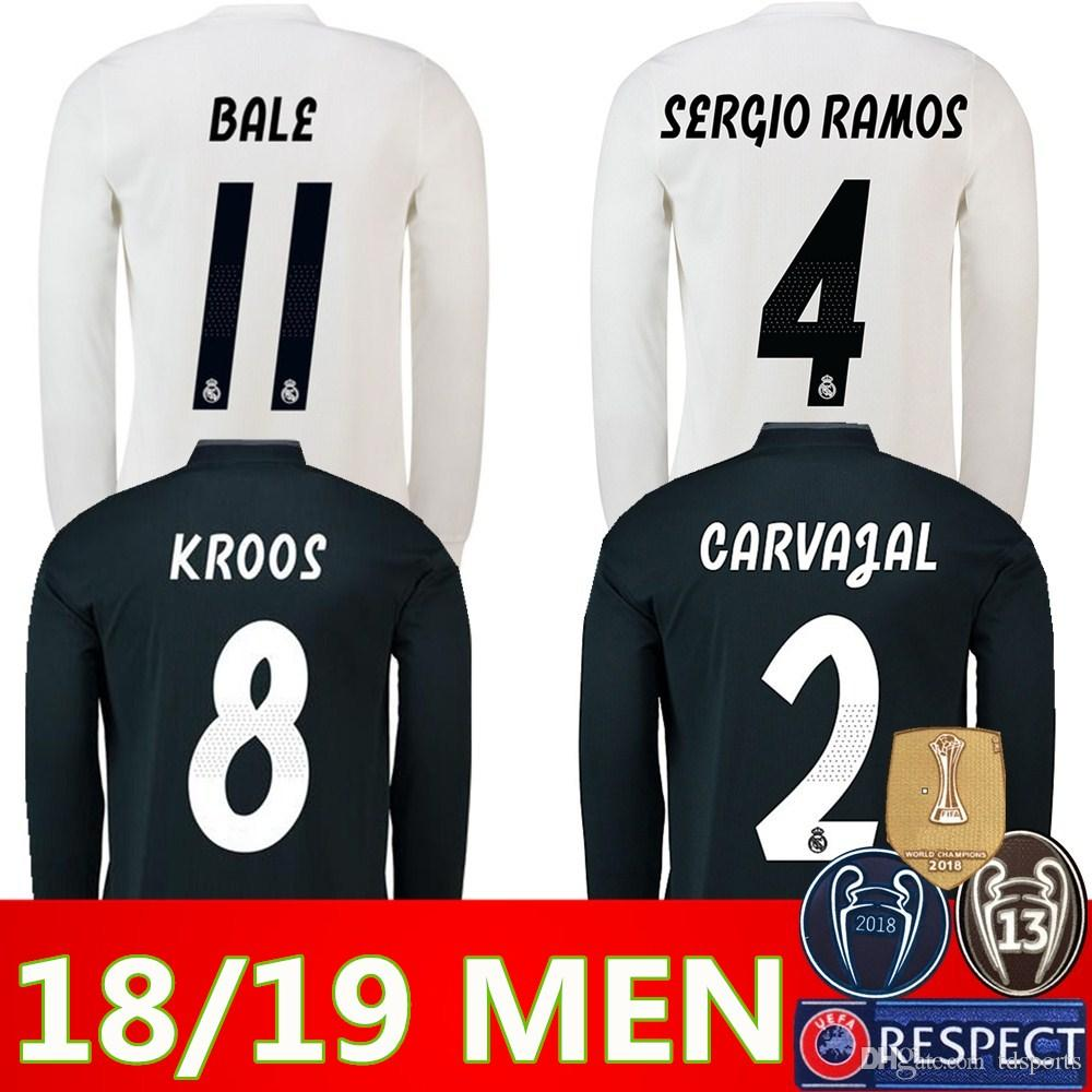 new styles 54ddd 80f9e Real Madrid EA Sports Long sleeve Soccer Jersey 2019 champions league 10  MODRIC 12 Marcelo #20 ASENSIO ISCO Away Coral red Football uniform