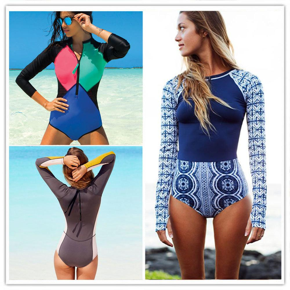 9523a66f32 Sexy One Piece Swimsuit Long Sleeve Swimwear Women 2018 Print Floral  Bathing Surfing Retro Swim Suits Monokini Maillot De Bain C19041001