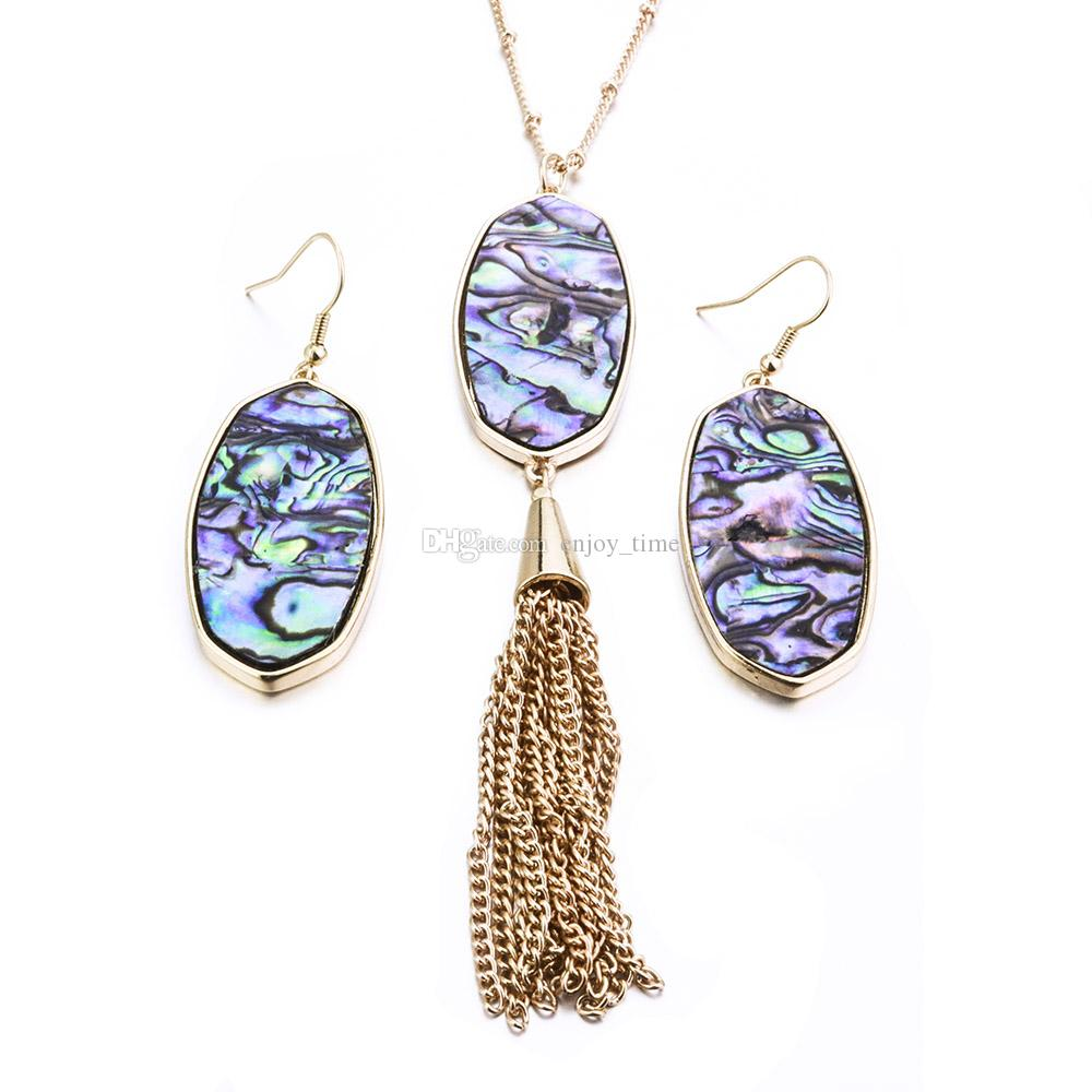 Kendra Oval Hexagon TurquoiseAbalone Shell Scott Earrings Necklace Jewelry Sets Gold Color Metal Tassels Long Necklace For Women