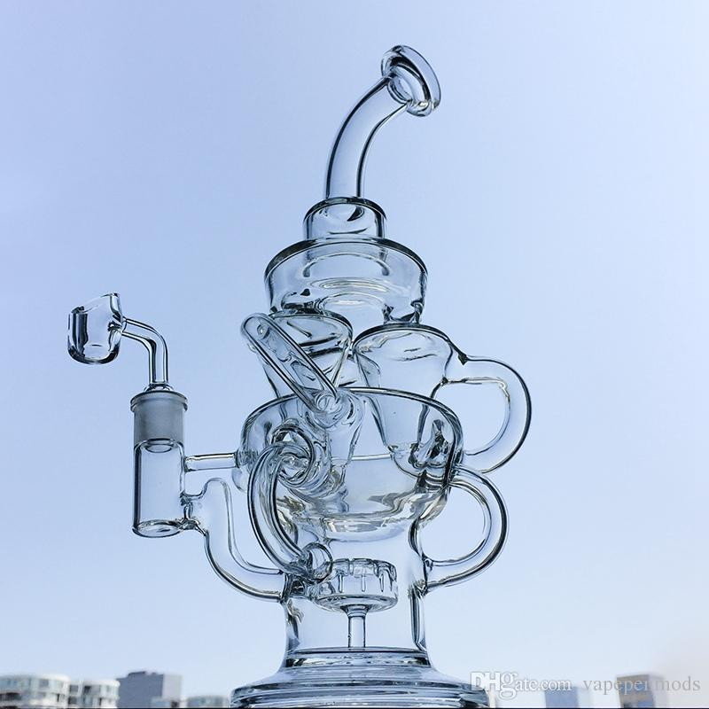 Recycler Dab Oil Rigs Tornado Glass Bongs Awesome Showerhead Perc Dab Rigs Cyclone Vortex Glass Bong Water Pipes With Banger HR314