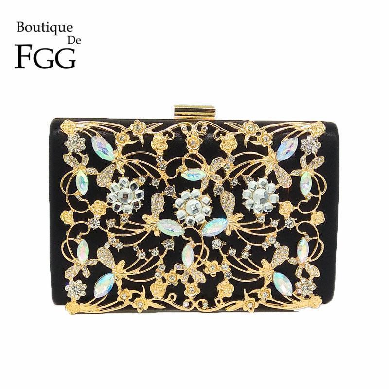 Boutique De FGG Women Fashion Crystal Clutch Evening Bags Black Satin Metal Flower Appliques Diamond Wedding Party Handbag Purse