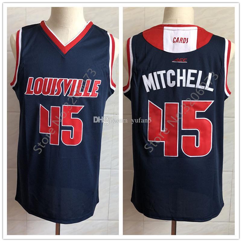 watch 2a57f 1fc73 #45 Donovan Mitchell Louisville Cardinals college Retro Classic Navy blue  Basketball Jersey Mens Stitched Jerseys
