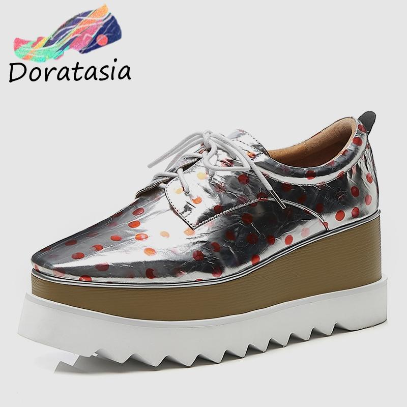 5d66e57a822 DORATASIA Fashion Women Thick Platform Sneakers 2019 Spring Patent Genuine  Leather Girl High Shoes Polka Dot Casual Flats Mens Shoes Loafers From ...