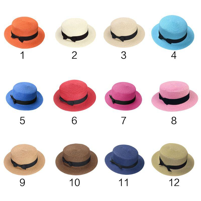 41b7b773860 Women Summer Boater Straw Sun Hat London Style Vintage Retro Flat Top Sweet  Candy Solid Color Bucket Cap Wide Brim UV Protection Fedora Hats For Men  Cowgirl ...