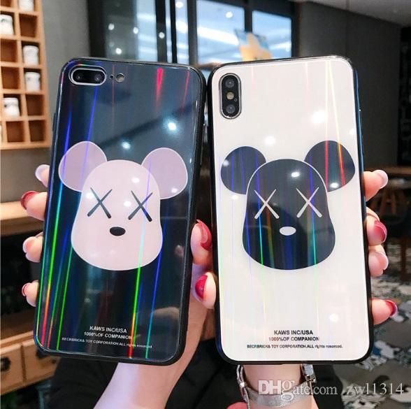 Neue Karikatur-Telefon-Fälle ausgeglichenes Glas-Rückseiten-Blatt für maximalen TPU weichen Rand-Handy-Fall Iphone Xs für Iphone 6 6s 7 8 plus DHL