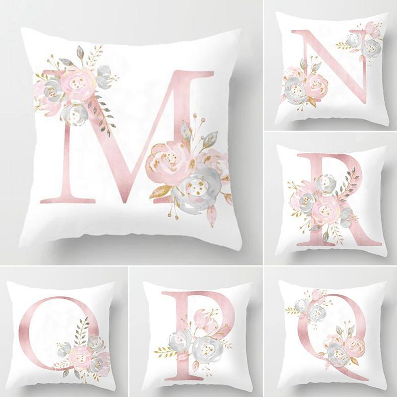 45x45cm Kids Room Decoration Letter Pillow English Alphabet Polyester Cushion Cover for Sofa Home Decoration Flower Pillowcase