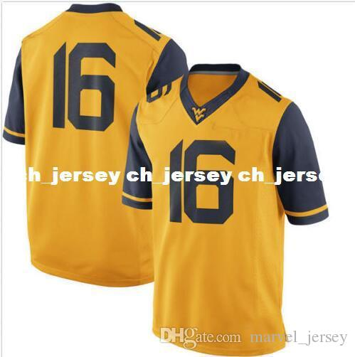 wholesale dealer 8c2ff a08b6 Cheap wholesale #16 West Virginia Mountaineers Jersey Gold New!! Sewing  custom any number name football jersey