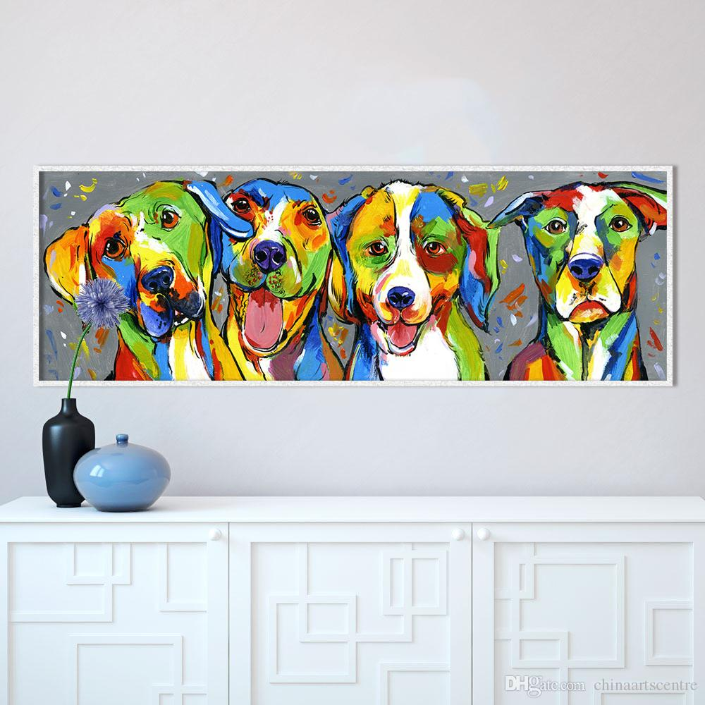Colorful High Quality Handpainted & HD Print Modern Abstract Animal Art Oil Painting Lovely Dog On Canvas Wall Art Home Deco a05