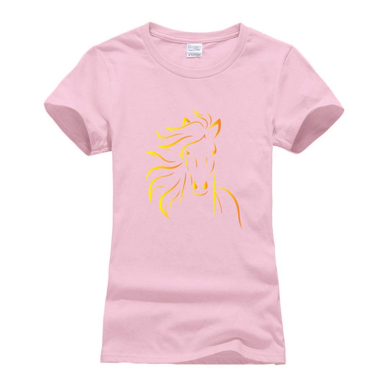 2019 Camiseta Lindo Mujer Ropa Nueva Verano De Algodón Corta Caballo Moda Impreso Con Marca Manga Camisetas Fitness wTkiXlZOPu