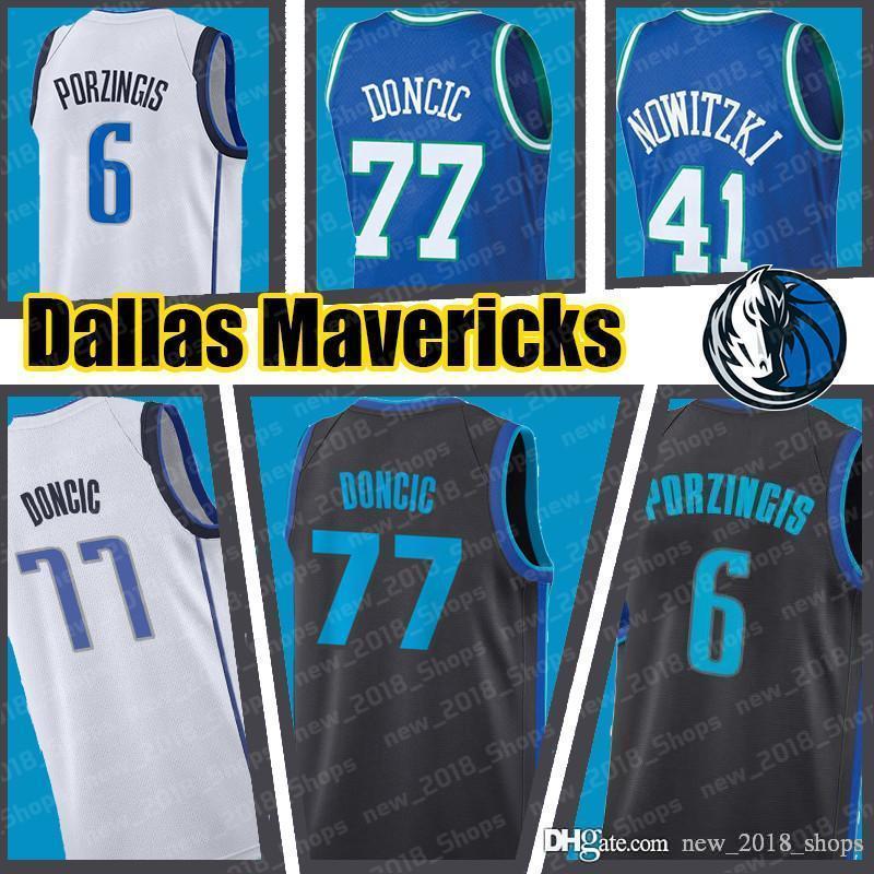 size 40 d5978 5c8c1 Doncic 77 Luka Kristaps 6 Porzingis Dallas Justin 41 Jackson retro Dallas  Basketball jerseys Mavericks