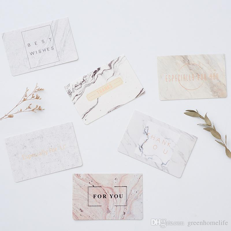Greeting Cards Creative Marble Pattern Greeting Card Holiday Blessing  Message DIY Blank Small Greeting Card With Envelope