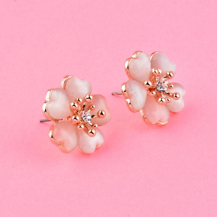 Charm Solid Plum Flower Stud Earrings With Pink Blue Beige Opal Stones Female Rose Gold Color Jewelry Es660 SSI