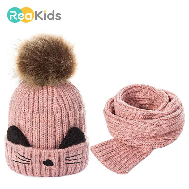 Baby Hat For Boys Girls REAKIDS Fashion Hat Knitted Winter Pom Pom Children Kids