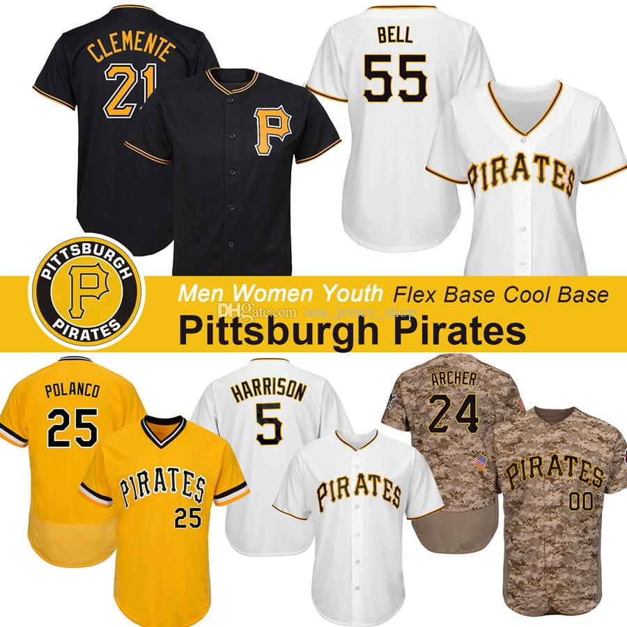 buy online 44b97 19189 Custom Pirates Chris Archer Jersey Josh Bell Corey Dickerson Cole Tucker  Roberto Clemente Honus Wagner Willie Stargell Baseball Jerseys