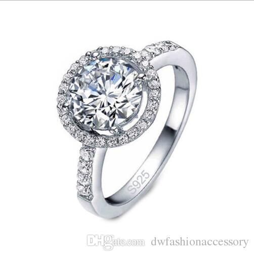 2019 New Silver Color Wedding Rings For Women Square Simulated