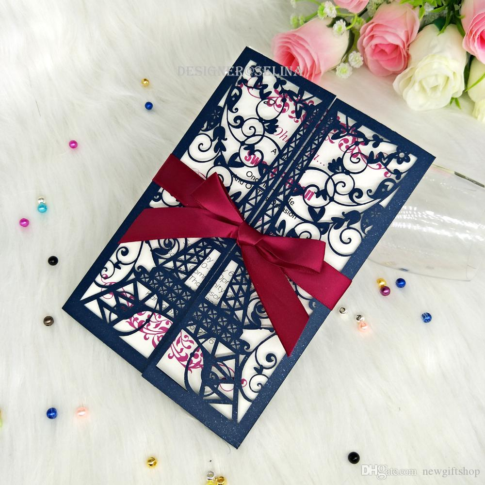 Blue Eiffel Tower Paris Laser Cut Invitations With Ribbon For