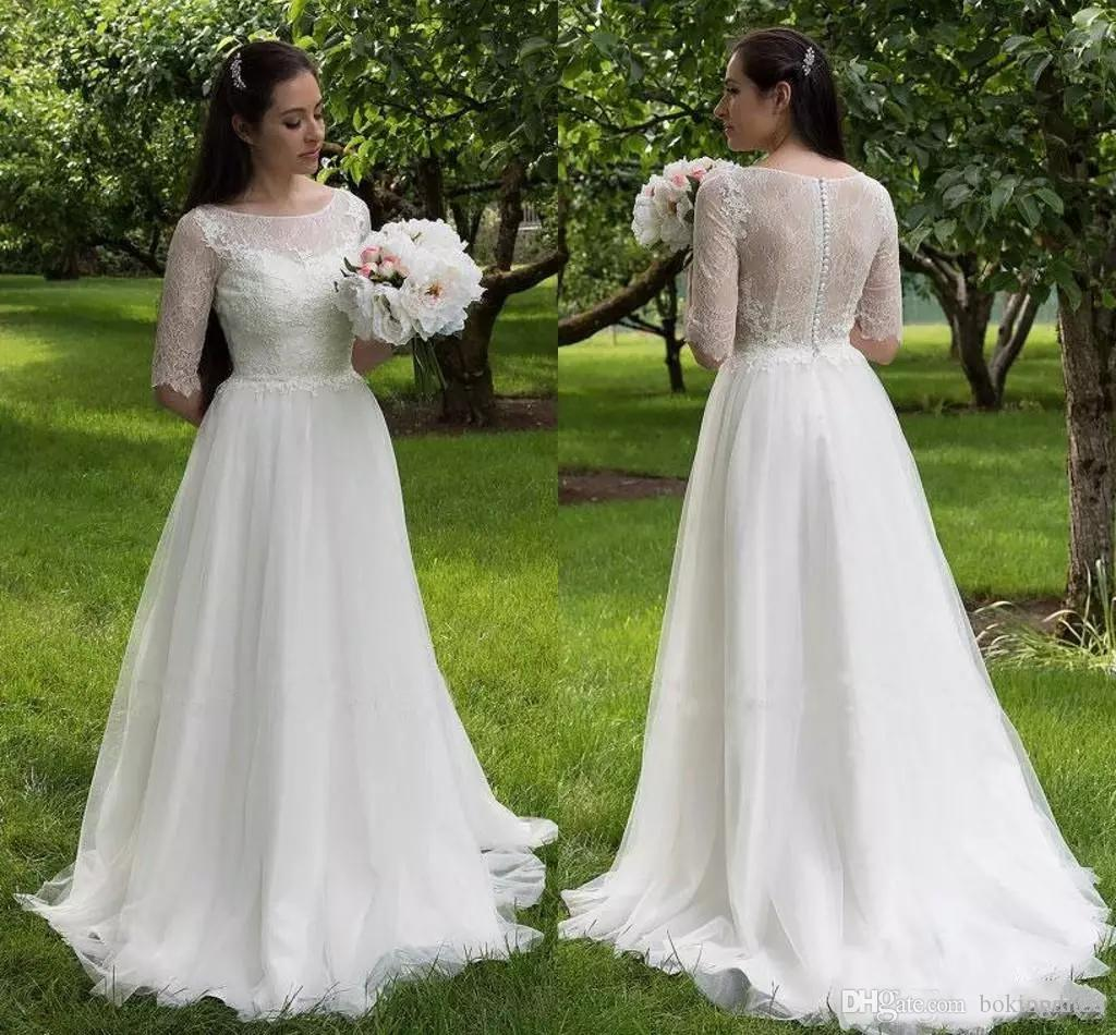 04bda7510e Discount 2019 Romantic Country Wedding Dresses Tulle A Line Lace Tops Half  Sleeves Wedding Dress Floor Length Buttons Back Handmade Bridal Gowns  Wedding ...