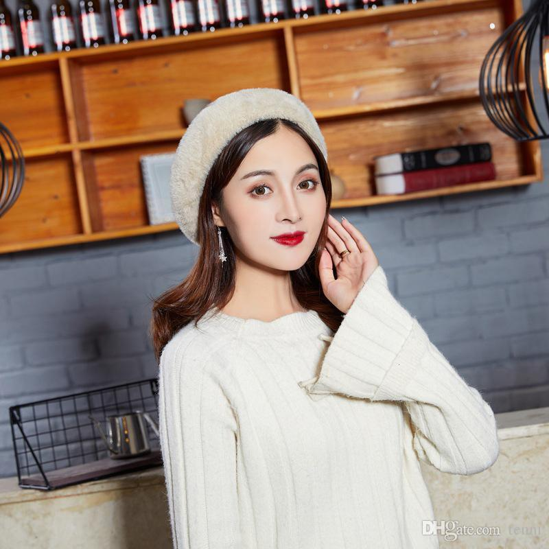 2ec2baf5867 Women Vintage Casual College Style Furry Berets Solid Color Warm Caps  Rabbit Hair Autumn Winter Thick Hats Fashion Painter Hat Berets Cheap  Berets Women ...