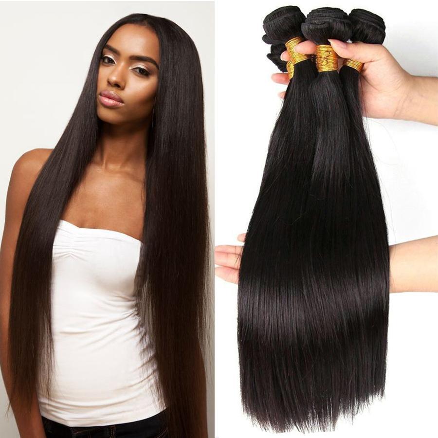 Professional Hair Vendors Peruvian Virgin Human Hair Bundles Straight  Peruvian Straight Human Hair Weave Extension For african american 1B