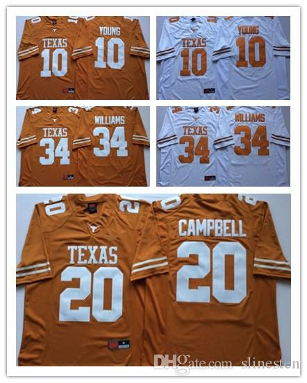 100% authentic 6c57b f74a6 10 Vince Young Texas Longhorns College Football Jerseys 20 Earl Campbell  texas 34 williams jerseys Men Jersey