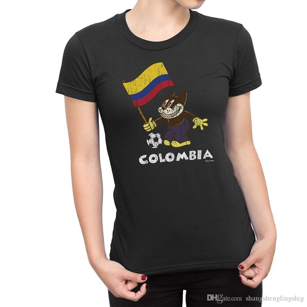 Colombia Comic Football Cat Flag T-Shirt World Cup Women Retro Sports