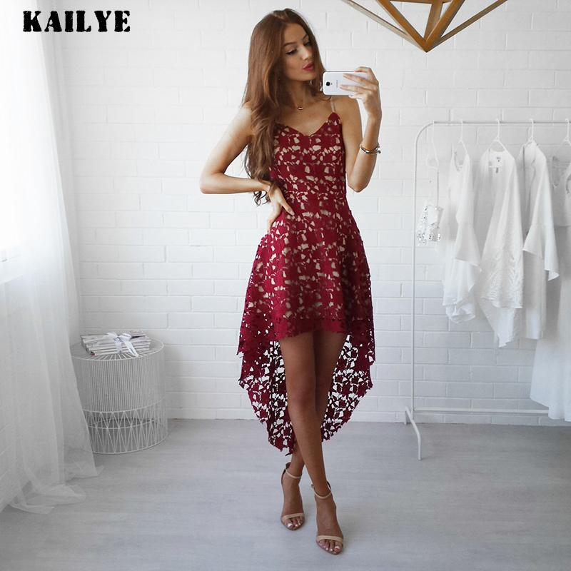 a3f00d3645 KAILYE Clearance Unique Design Dress 2018 Summer Sexy Sling Elegant Party  Dress Hook Flower Hollow White Lace Women Dress Pink Discount Prom Dresses  Formal ...