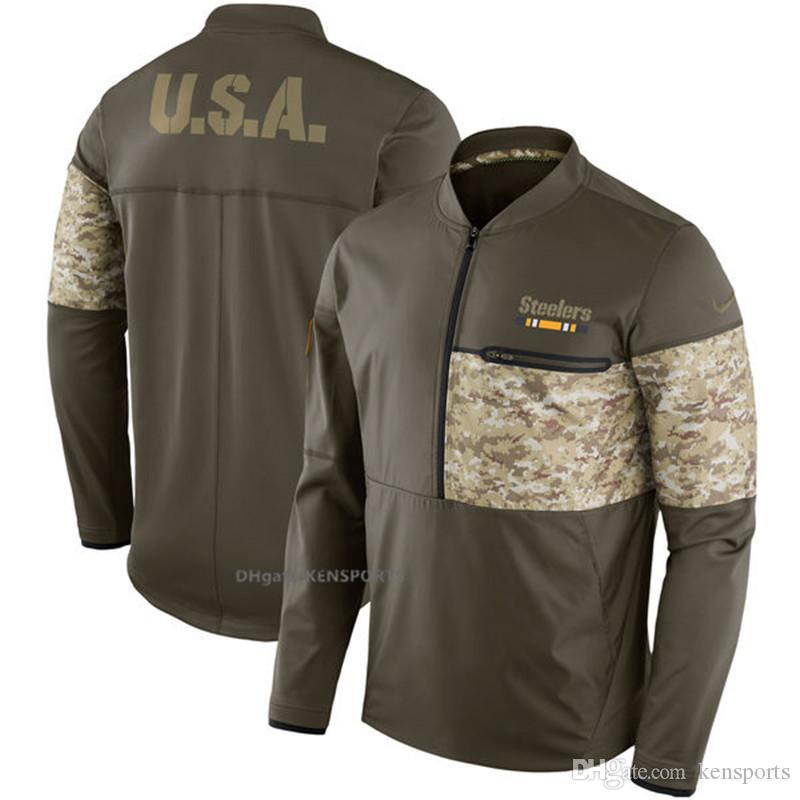 innovative design f1d5d 9e9f1 Men Pittsburgh Steelers Salute to Service Sideline Hybrid Half-Zip Pullover  Jacket - Olive