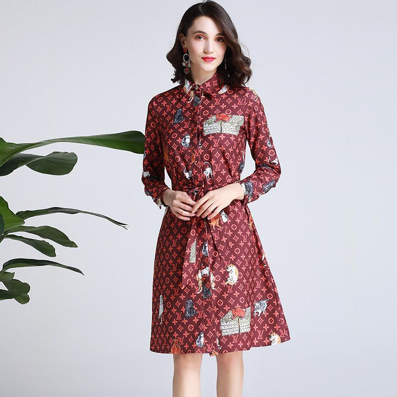 f2a6663dd0b 2019 Pattern Small Animal Print Shirt Skirt Female 2019 Summer New Long  Sleeved Lapel Tie Waist Single Breasted Skirt From Hot1022, $71.05 |  DHgate.Com