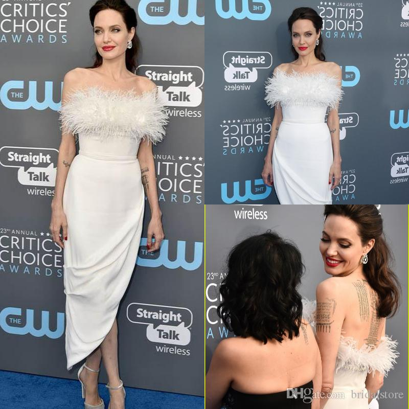 angelina jolie Popular White Prom Dresses Short Sexy Strapless Tea Length Slim Fit Semi Long Cocktail Formal Evening Gowns With Feather 2018