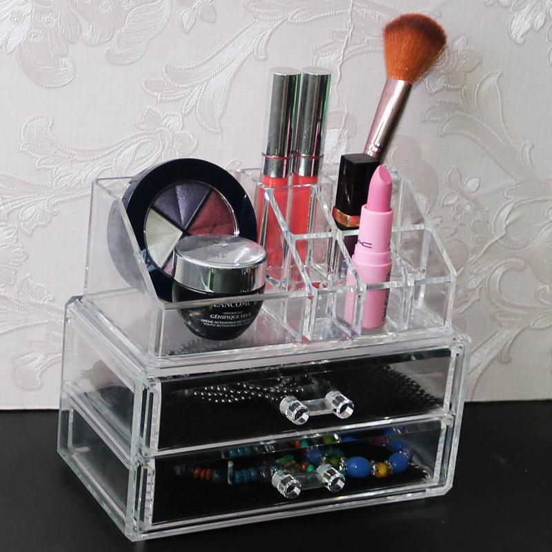 Acrylic 2 Drawers Makeup Organizer Jewelry Storage Box Desk Organzizer Cosmetic Brush Holder Clear Lipstick Holder Storage Box