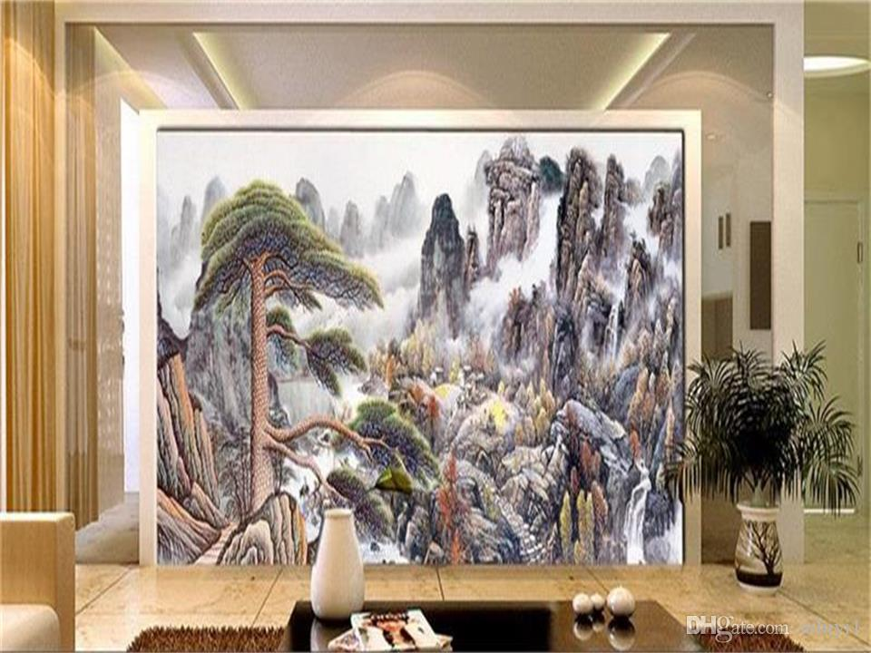 custom size 3d photo wallpaper living room mural The Pine Greeting Guests Chinese picture sofa TV backdrop wallpaper non-woven wall sticker