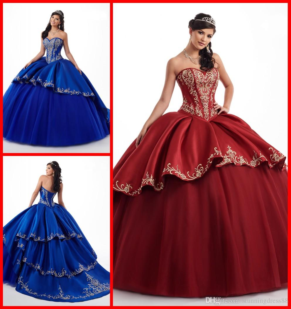 Incredibile Royal Blue Borgogna 2019 Abiti da ballo Quinceanera con oro ricamato Sweetheart Satin Ball Gown sera Party Sweet 16 vestito