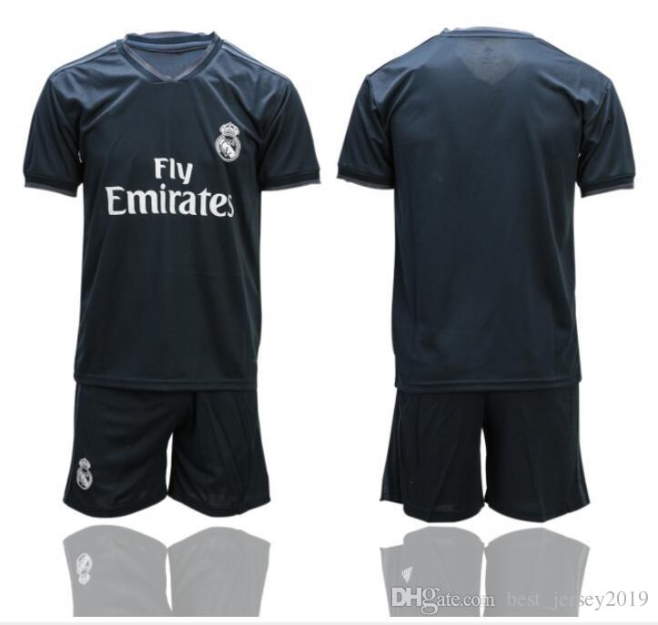 quality design 83747 45f6a Real Madrid Home Away Soccer Jerseys 19 20 Embroidery LOGO Football Kit  Stitch Football Shirts Soccer Uniform Suit Top Quality