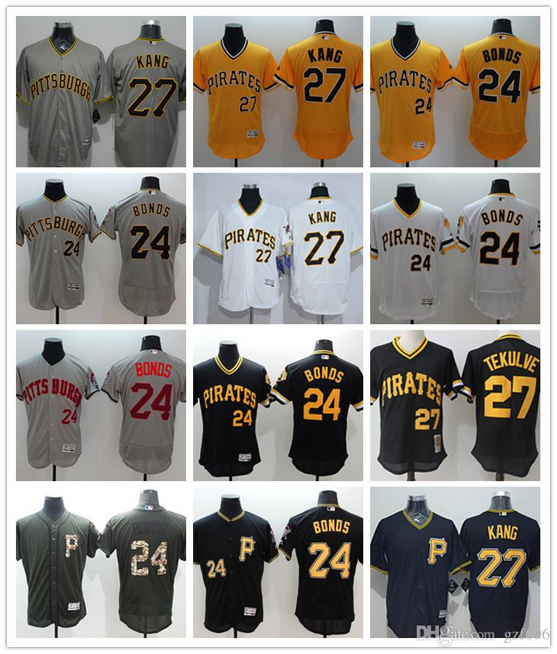 sale retailer 73ecf a52aa custom Men s women youth Pittsburgh Pirates Jersey #24 Barry Bonds 27 Kent  Tekulve Yellow Grey White Baseball Jerseys