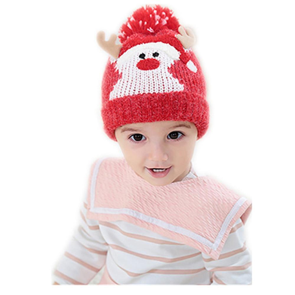 2e9e3e61b7d08 Compre Sombrero De Navidad Sombrero De Lana Para Niños Invierno Dibujos  Animados Coreanos Milu Ciervo Tejer Gorro Forro Espeso Para Mantener El  Calor Y El ...