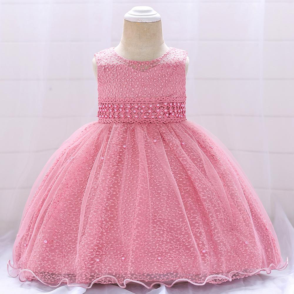 eaa1a6002 Girls baby princess dresses kids ball gown lace Beaded Embroidered bow  hollow out bubble wedding one-piece 70cm-90cm