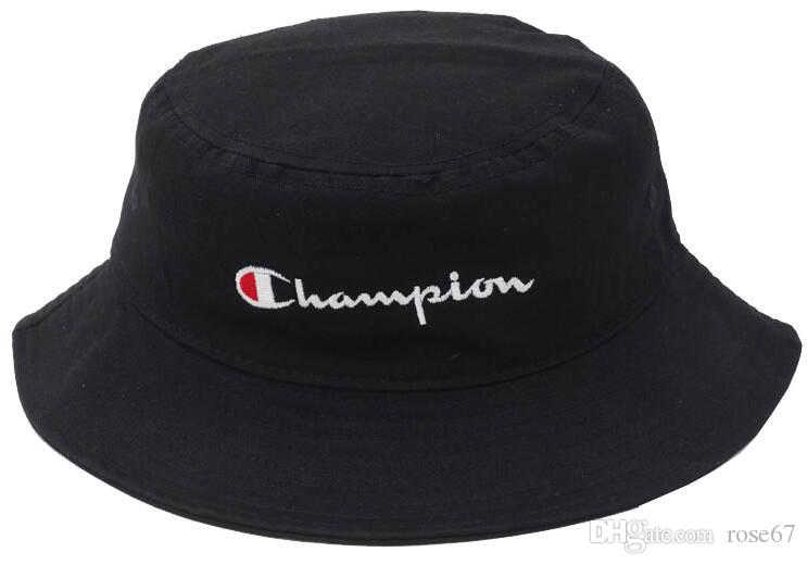 8c8e1660850057 2019 New Hot Champion Bucket Hat For Men Women Foldable Caps Black  Fisherman Beach Sun Visor Sale Camping Fishing Hunting Bucket Cap High  Quality From ...
