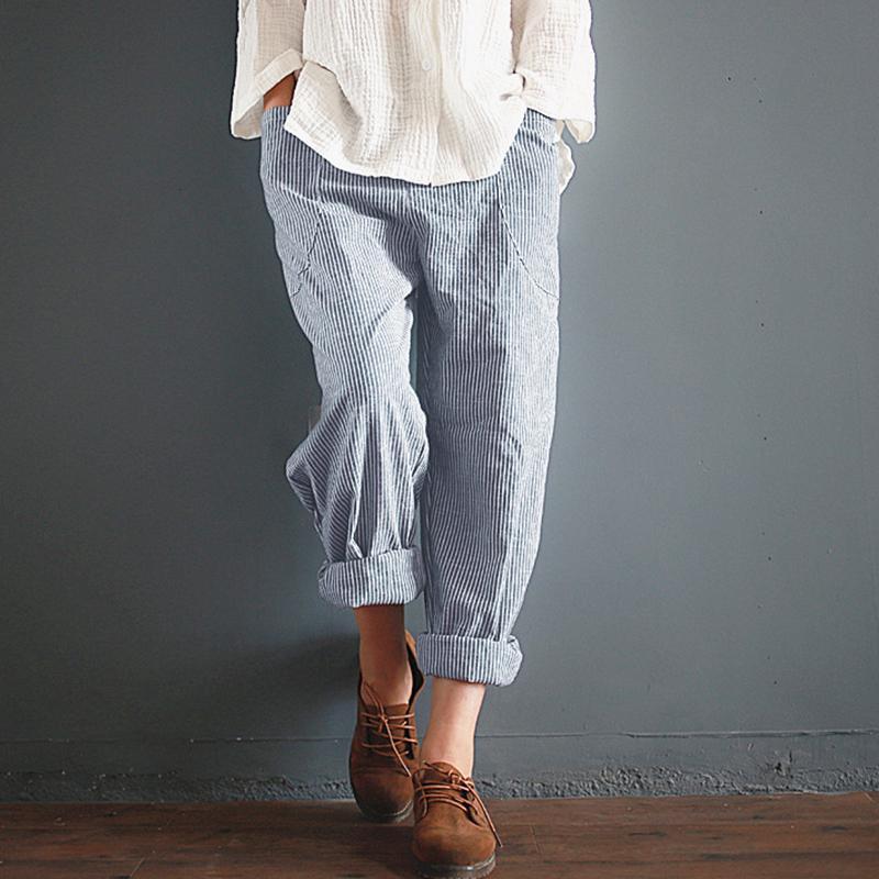 Frauen-Sommer-Baumwolle Leinen Elastic Harem gestreifte Taille lose beiläufige Hosen Taschen Hosen