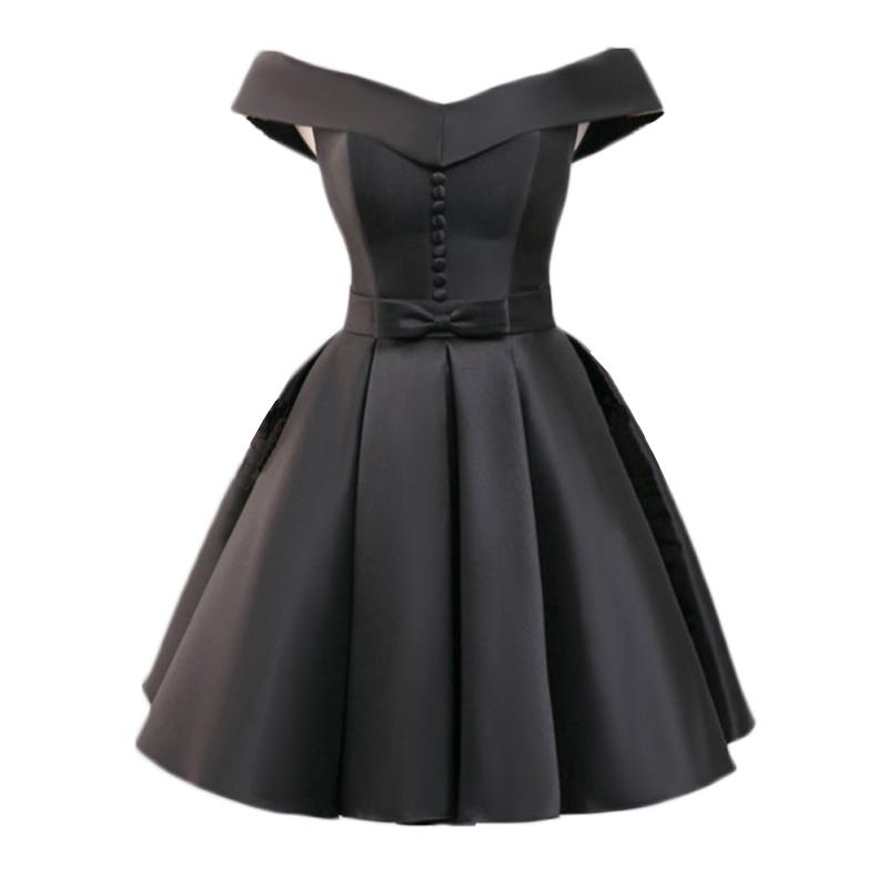e660297f1ac Compre Venta Al Por Mayor Corto Negro Vestido De Fiesta Sexy Fiesta Formal  Vestido De Satén Con Cuello En V Mini Vestidos De Baile Con Un Botón Chica  Mujer ...