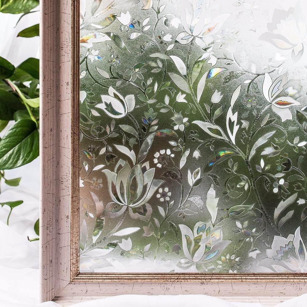 Cottoncolors Bedroom Bathroom Pvc Privacy Film No-glue 3d Static Flower Decoration Window Glass Sticker Size 60 X 200cm Q190601