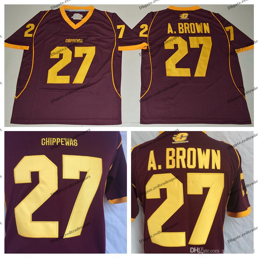 super popular 696ae 46056 Mens Central Michigan Chippewas Antonio Brown College Football Jerseys  Cheap Red 27 Antonio Brown University Football Shirts M-XXXL