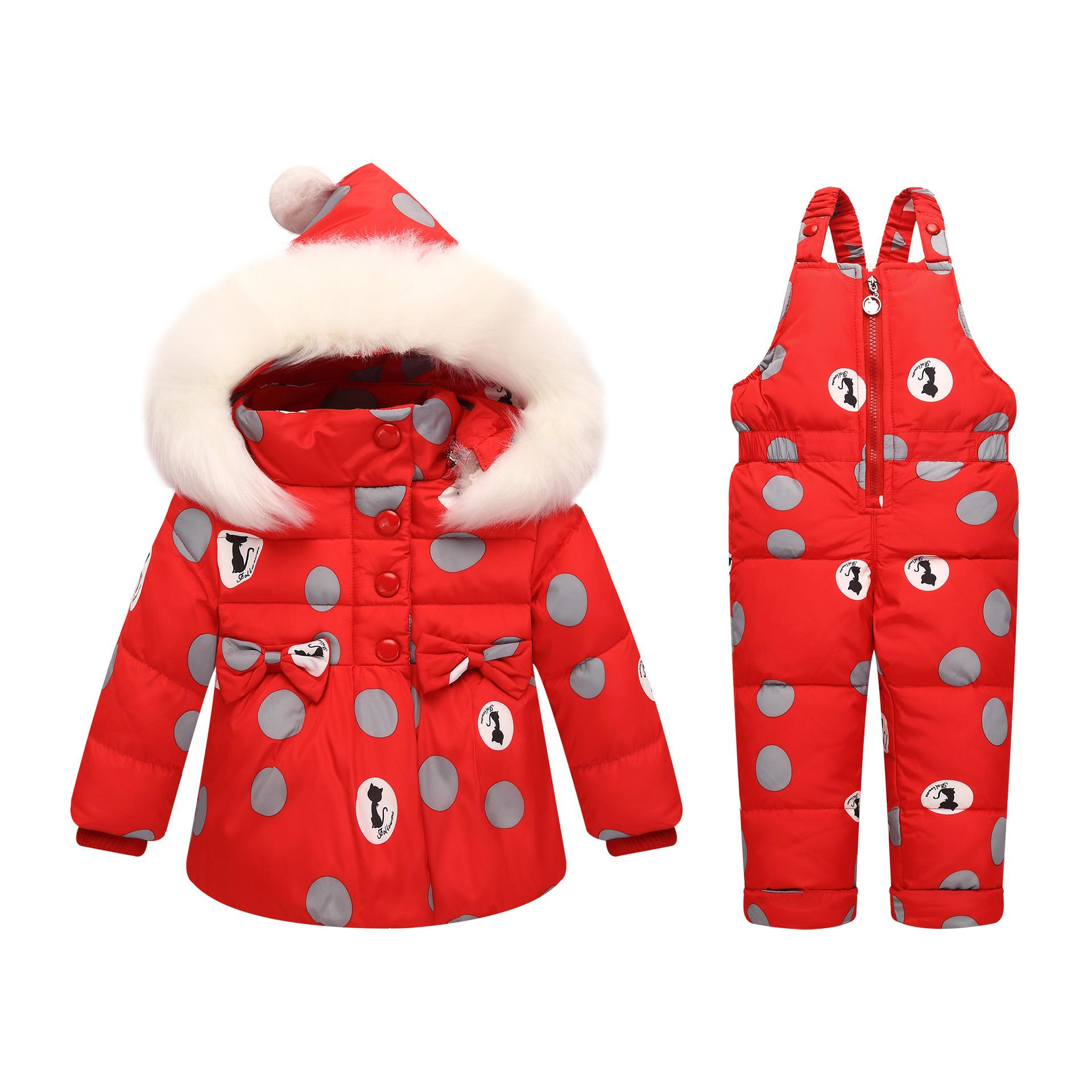 4e2b91fcf OLEKID 30 Degree Russia Winter Children Girls Clothes Set Down Jacket Coat  + Jumpsuit For 1 4 Years Kids Baby Girl Snowsuit Down Jacket Girls Down  Coats For ...
