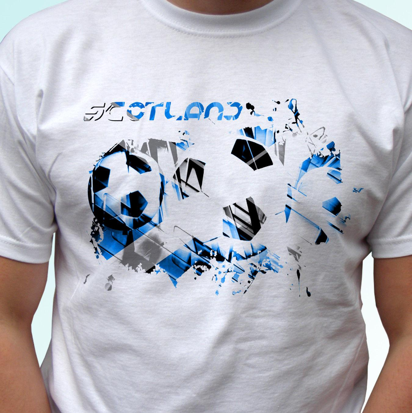 Scotland football flag white t shirt soccer style design mens womens kids  Funny free shipping Unisex Casual Tshirt top