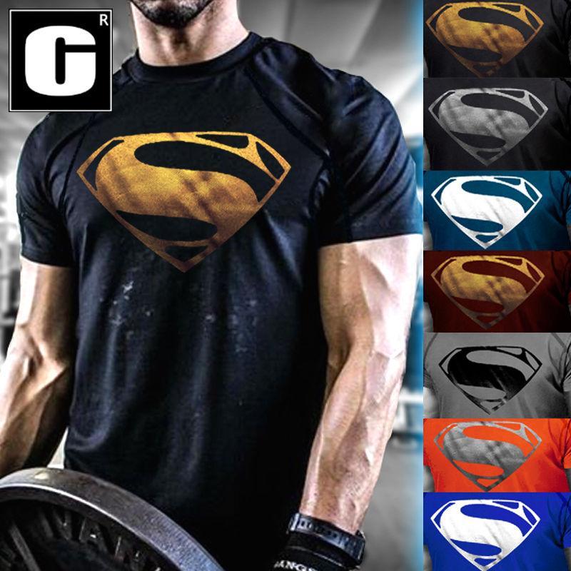 e120a07e Men'S NEW Superman Gym Singlets T Shirt Bodybuilding Fitness Sports ...